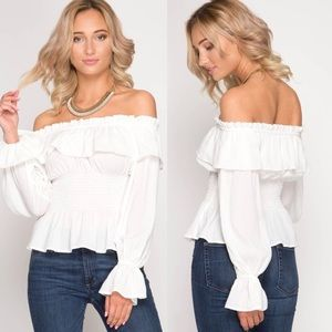 Tops - New Arrival !! Ruffle off white off shoulder top